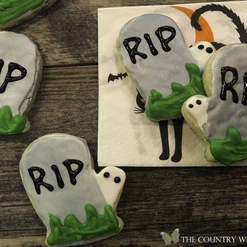 Halloween tombstone iced sugar cookies