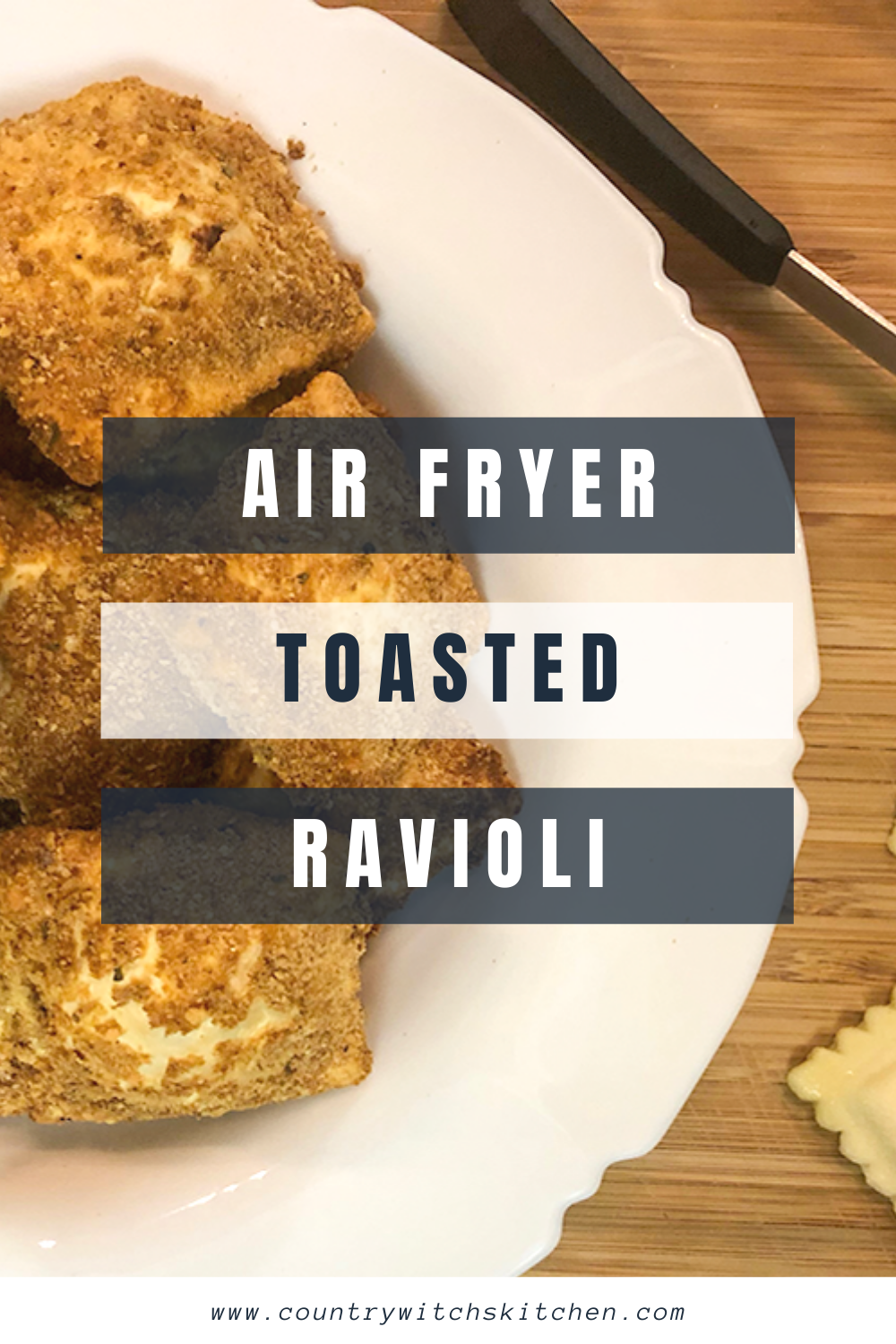 This quick and easy lunch recipe for air fryer toasted ravioli is done in minutes and makes the perfect lunch box addition or warm lunch at home! #airfryerrecipe #toastedravioli #airfryerravioli