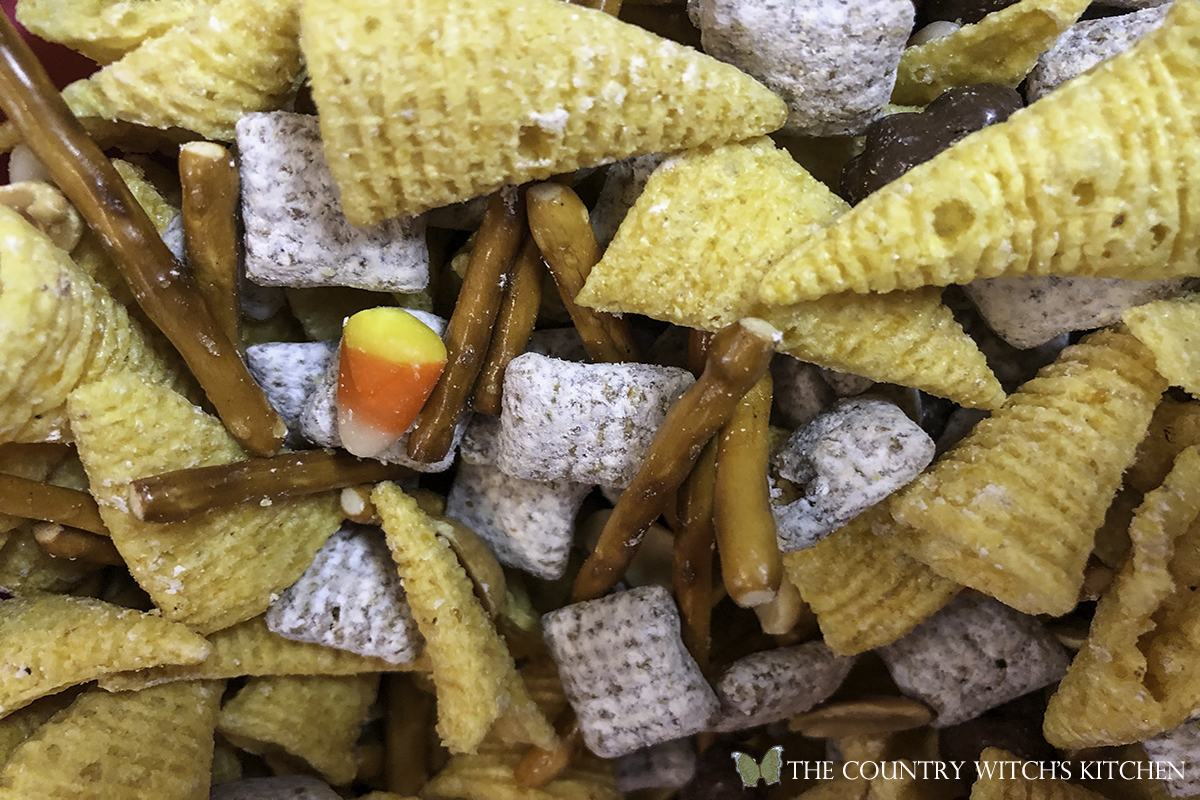 combined ingredients for haunted trail mix