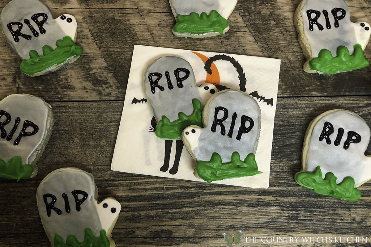 finished Halloween tombstone sugar cookies