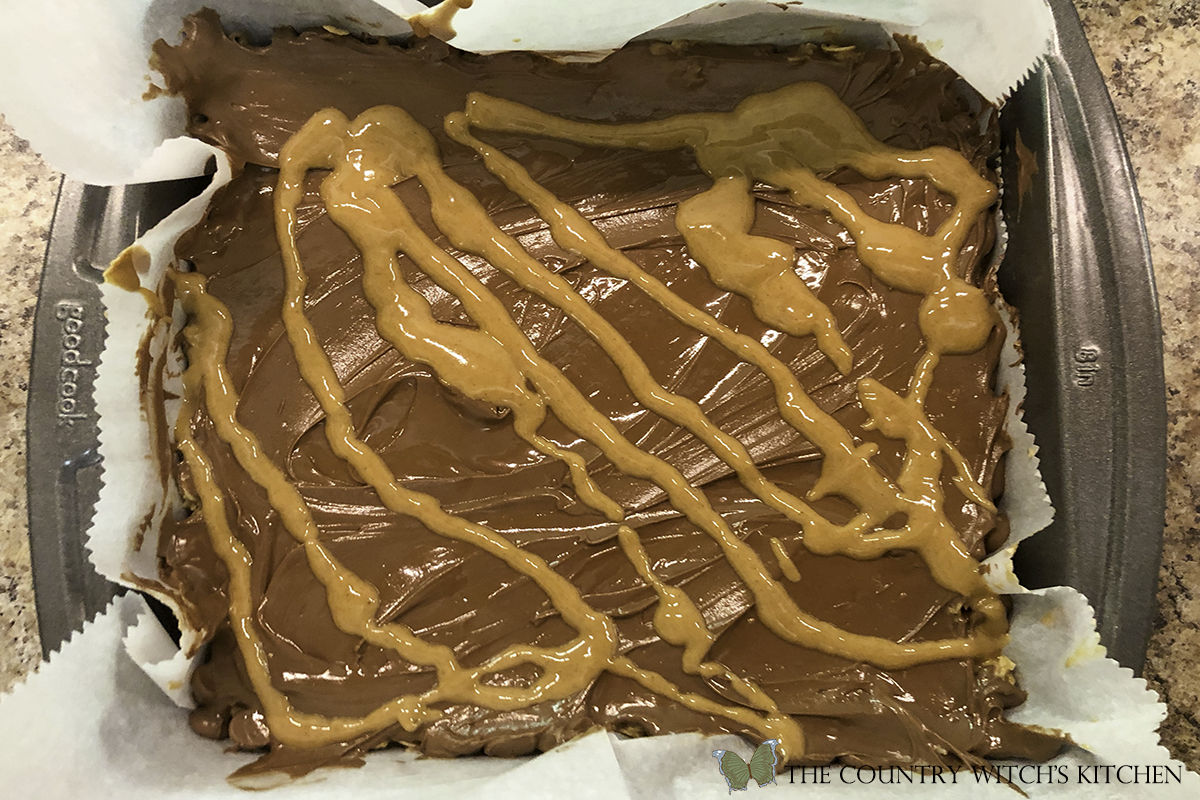 melted chocolate and peanut butter on oat bars