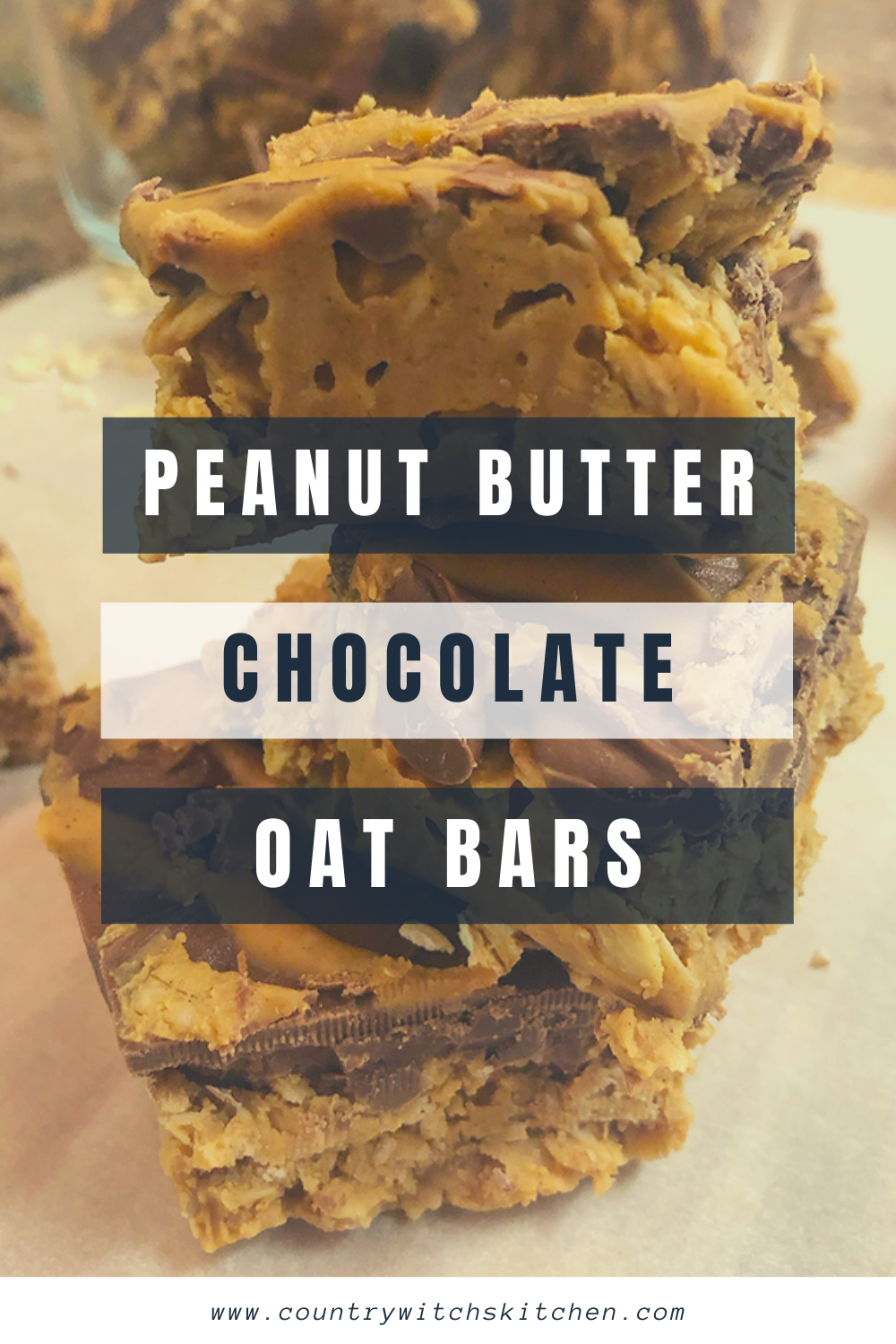 Peanut butter chocolate oat bars are a delicious treat for breakfast, afterschool, or any other time of day! #peanutbutter #oatbars #oatmealbars #breakfast