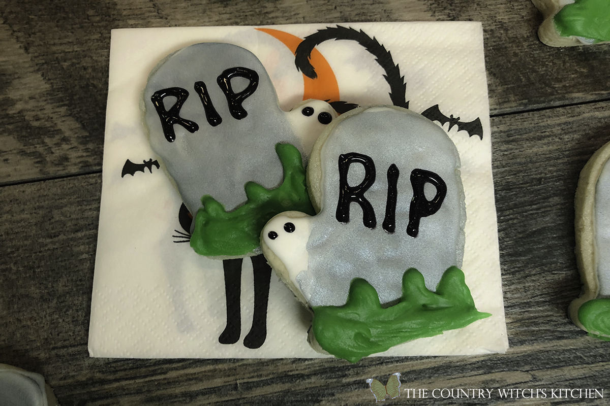 tombstone sugar cookies on Halloween napkin