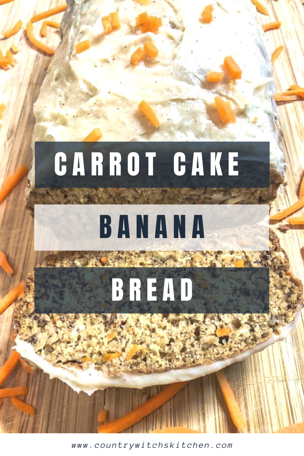 This quick and easy carrot cake banana bread with cinnamon cream cheese icing is the perfect treat any time of day #carrotcake #bananabread #breadrecipe #quickbread