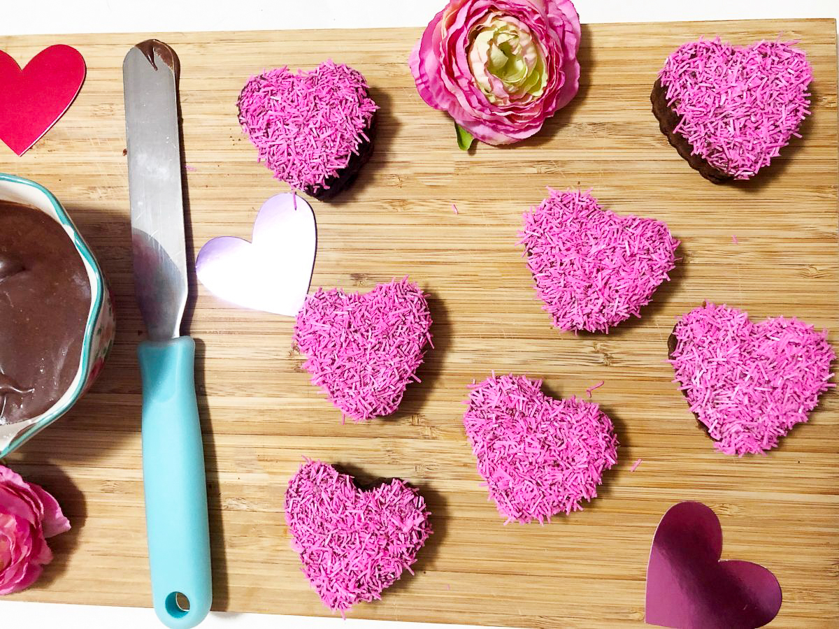 decorated heart-shaped brownies