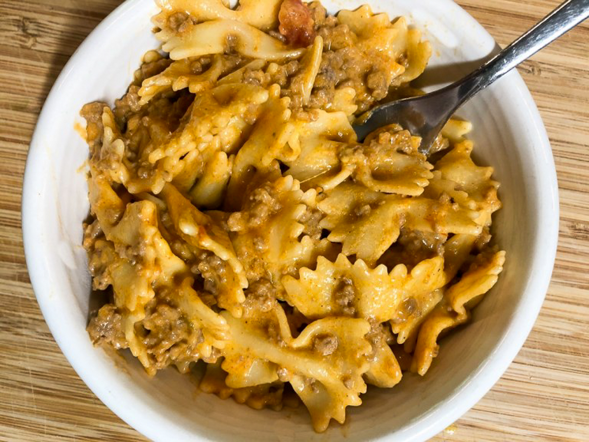 cheesy taco pasta in bowl
